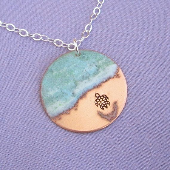 Almost There - inspiring baby Sea Turtle Necklace - handmade in copper and enamel by Dawn Maxson