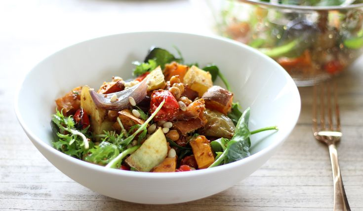 Roast Vegetable Salad with Maple Balsamic Dressing