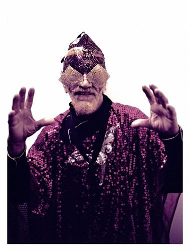Marshall Allen (Sun Ra) Cafe Oto,  London 2009,  photograph by Gerald Jenkins, gold-filigree sunglasses from   General Eyewear's historical collection
