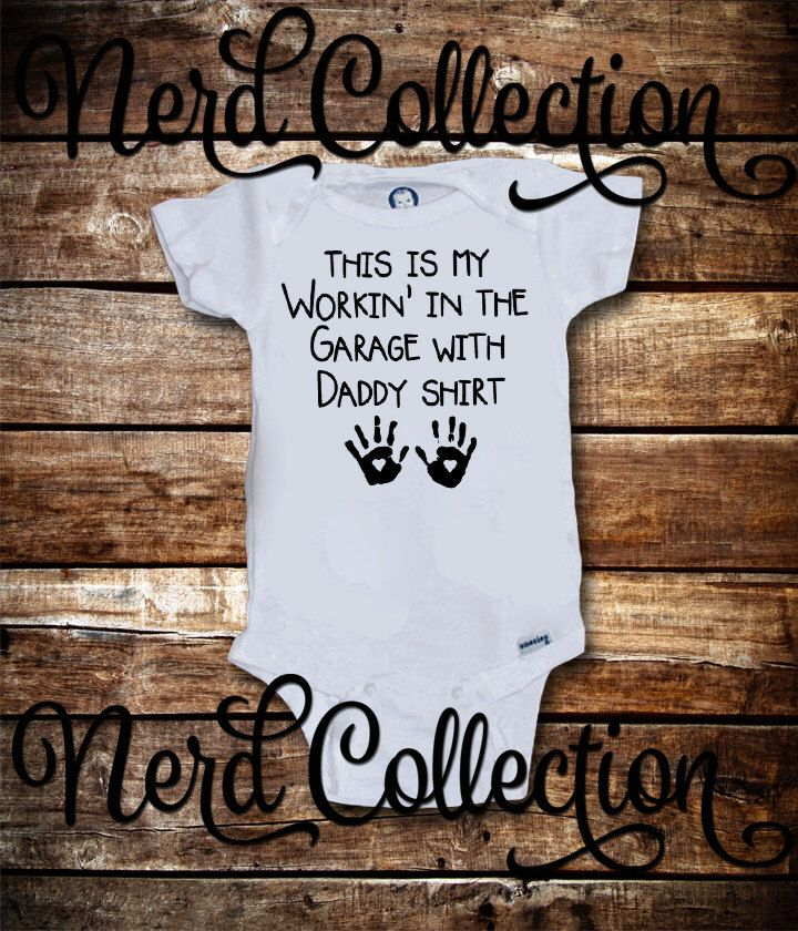 Baby Onesie Working In the Garage With Daddy Mechanic Tools Car Daddy's Little Helper New Dad Baby Shower Gift Nursery Baby Clothing Gerber by NerdCollection on Etsy https://www.etsy.com/listing/250647277/baby-onesie-working-in-the-garage-with