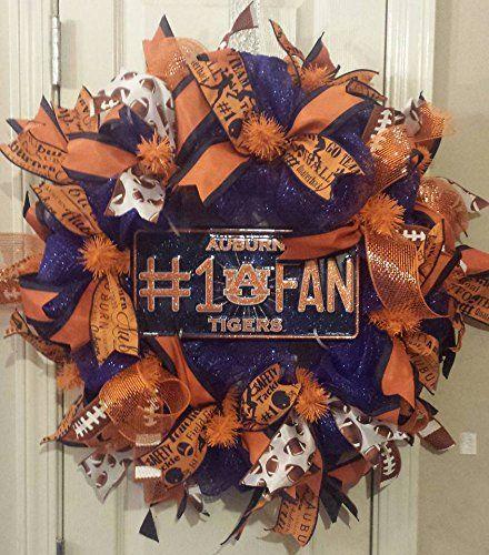 Auburn Tigers Wreath. Blue and orange deco mesh wreath with Auburn ribbons and an Auburn #1 fan sign.