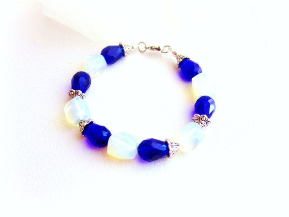 Opalite moonstone and blue crystal beaded by MalinaCapricciosa, $20.00