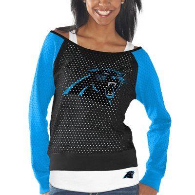 Womens Carolina Panthers Black/Carolina Blue Holey Long Sleeve T-Shirt and Tank Top