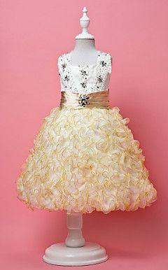 uma linha de halter tule / cetim casamento / noite vestido da menina flor