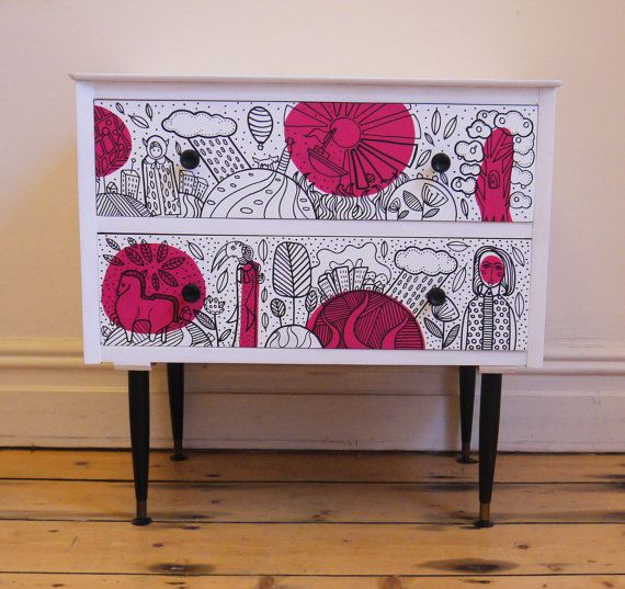 Vintage Retro Up-cycled Chest of drawers