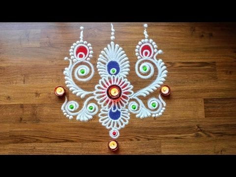 Freehand rangoli design - Diwali Rangoli Design - Rangoli design with Co...