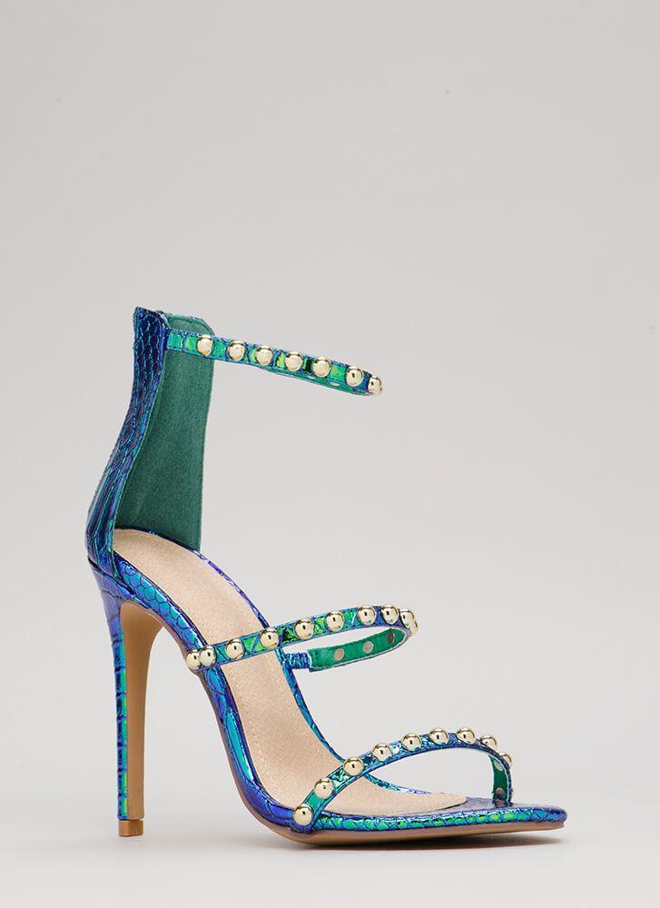 b4a16de5df1b You re Golden Studded Iridescent Heels GREEN