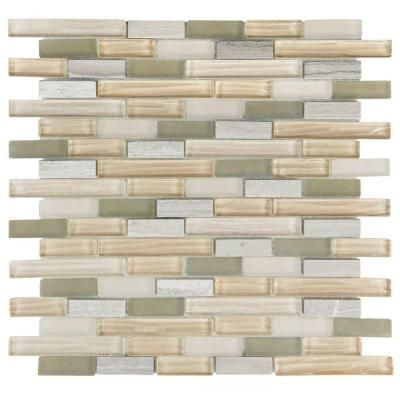 Merola Tile Tessera Piano Sahara 11-3/4 in. x 12 in. x 8 mm Glass and Stone Mosaic Wall Tile-GDXTPNSH - The Home Depot