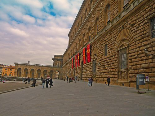 Palazzo Pitti, Florence, Italy; begun ca. 1440 it was built in various phases: 1st phase (7 bays façade) construction stopped in 1464; supposed but not proven involvement of Filippo Brunelleschi, official architect: Luca Fancelli; 2nd phase 1560-1570 (expansion towards the garden) architect: Bartolomeo Ammannati; 3rd phase 1618-1630 (lengthening of the two wings overlooking the piazza); 4th phase XVIII c. (addition of the 2 avant-corps on both sides of the piazza).