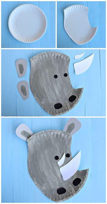 Paper Plate Rhino Craft for Kids - Fun zoo art project! | CraftyMorning.com