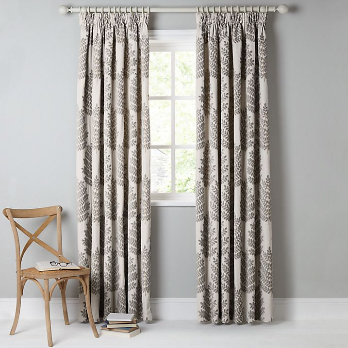 Buy John Lewis Evesham Tree Lined Pencil Pleat Curtains, Flint, W167 x Drop 137cm Online at johnlewis.com