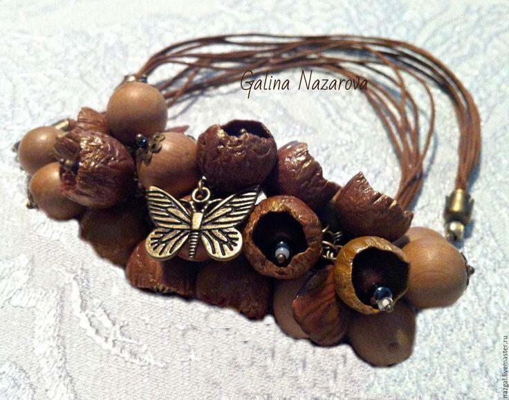 Купить Колье Осенние цветы из полимерной глины - коричневый, колье, полые бусины, деревянные бусины