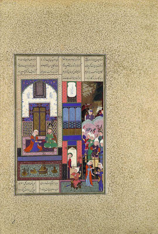 """برگی از شاهنامه شاه تهماسب: دلخوشی دادن سام سیندخت را، منسوب به محمد قدیمی گیلانی و عبدالوهاب، دوره صفوی، در حدود 1540، تبریز عروس ار به مهر اندرون همچو اوست سزد گر برآیند هر دو ز پوست Sam Seals His Pact with Sindukht"""", Folio from the Shahnama (Book of Kings) of Shah Tahmasp Abu'l Qasim Firdausi  (935–1020)  Artist: Painting attributed to Qadimi (active ca. 1525–65) Artist: Painting attributed to 'Abd al-Vahhab Object Name: Folio from an illustrated manuscript Date: ca. 1525–30 Geography…"""