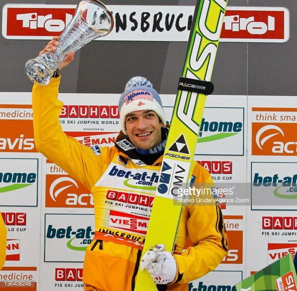 Andreas Kofler of Austria celebrates taking first place during the FIS Ski Jumping World Cup Vierschanzentournee on January 4 2012 in Innsbruck...