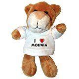 Peluche lion porte-clé avec J'aime Mounia (Noms/Prénoms)