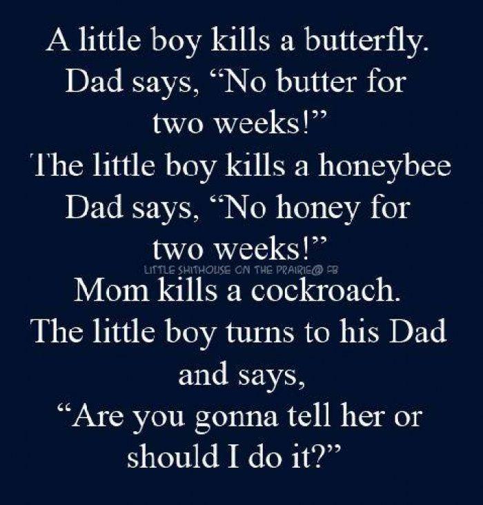 Little boy kills a butterfly - adult joke