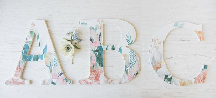Shabby chic monogram wall hangings add a dash of femininity to any home or office. Our vibrant floral overlay presents beautifully as a mantle display or wall hanging. Transform your home or office space with a stunning monogram created just for you. // Oh You're Lovely  Home Decor