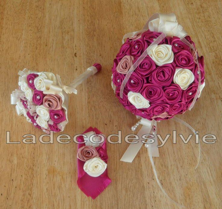 Bouquet boule avec boutonnière et bouquet demoiselle d'honneur http://Ladecodesylvie.fr #Mariage