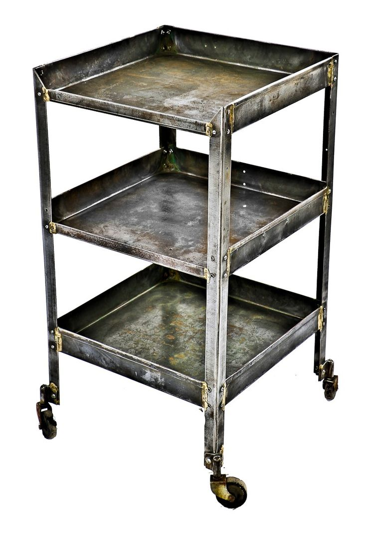 Factory caster vintage industrial furniture - Antique American Industrial Brushed Metal Modified Three Tier Mobile Factory Machine Shop Tool Cart With Welded Joint Bassick Casters