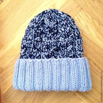 Шапочка из мериносовой шерсти с отворотом - голубой,однотонный,шапочка