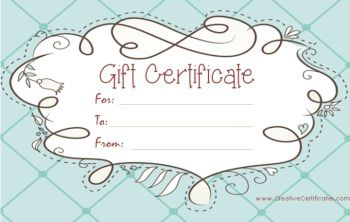 Light blue gift certificate template with a cute design for Cute gift certificate template free