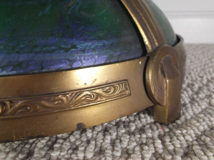 The Glass Is Shaded From A Darker Iridescent Blue At The Base To A Lighter  Green Near The Top Of The Lamp. Condition: Excellent Very Original  Condition, ...