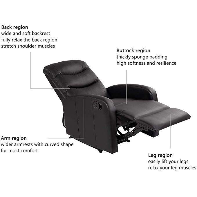 Amazonsmile Giantex Modern Leather Recliner Chair Pushback Single