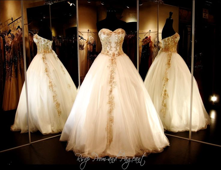 100VP0JHA0720595 WHITE/GOLD BALL GOWN This Is A WINNER For