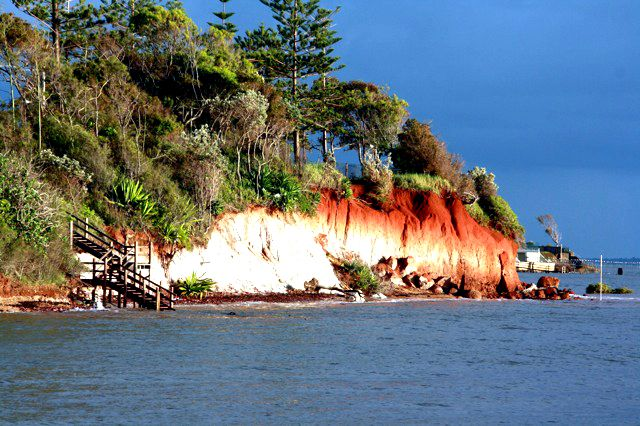 Red cliffs in Redcliffe, Queensland. Yes, this is how the area's name originated.