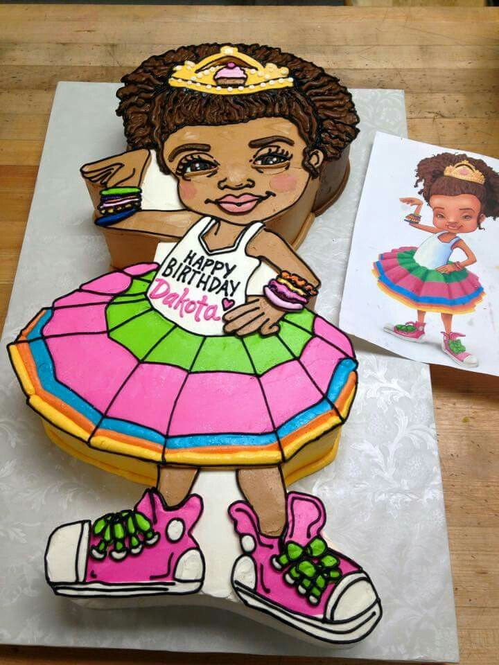Adorable African American girl cake made by https://m.facebook.com/profile.php?id=66339013871