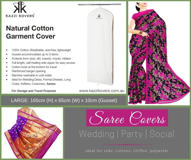 100% Cotton Garment Bags for Sarees and Silk garments. Store up to 3 items. Breathable. Acid-Free.