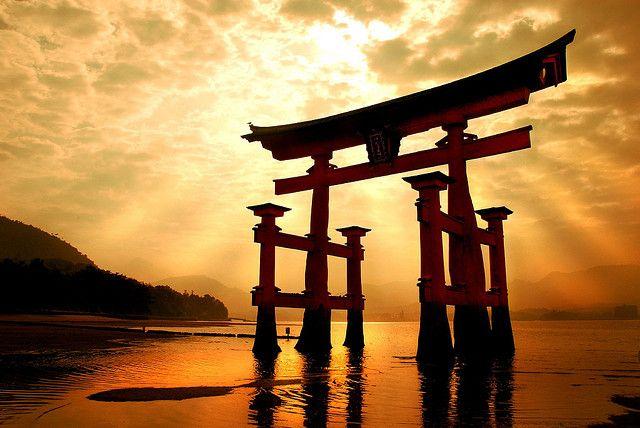 Gateway on the shore of Miyajima Island, near Hiroshima, Japan.