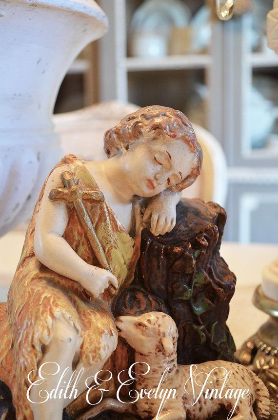 Rare Vintage Resting Christ Child with Lamb by ...