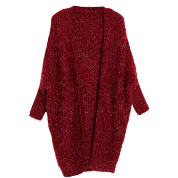 Ruby Warm Ladies Plain Chic Batwing Sleeves Cardigan Sweater ($42) ❤ liked on Polyvore featuring tops, cardigans, sweaters, ruby, cardigan top, red cardigan, bat sleeve cardigan, red top and batwing sleeve tops