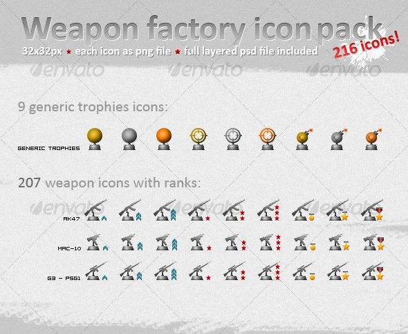 Weapon Icons and Trophies for Military Ranks — JPG Image #grey #trophies • Available here → https://graphicriver.net/item/weapon-icons-and-trophies-for-military-ranks/83947?ref=pxcr