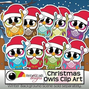 Christmas Owls Clip Art contains 10 brightly colored, sticker-style Christmas Owl Clip Art and 1 Black and White Christmas Owl Clip Art.  These little Christmas Owls look fabulous with their little Santa Hats on and will be a fun addition to your Christmas products.