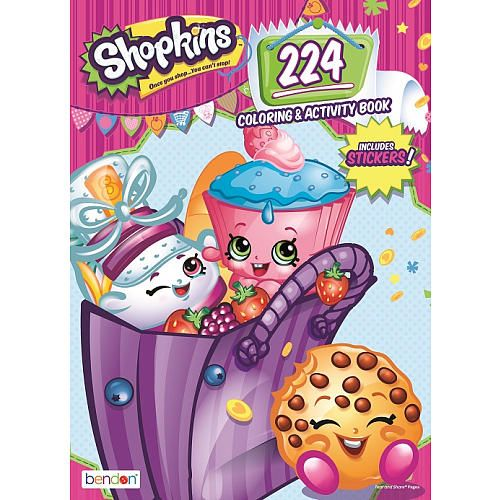 """Join your favorite Shopkins characters on an awesome coloring adventure! This 224 page coloring book is chock-full of activities, games and puzzles plus more than 30 sweet stickers and a cool foil cover!<br><br>The cutest, most-collectable characters from your favorite shops! There are adorable fruits, sweets, dairy and more! Grab your shopping cart, and start - because once you shop, you can't stop! Be sure to visit our <a href=""""http://www.toysrus.com&#..."""