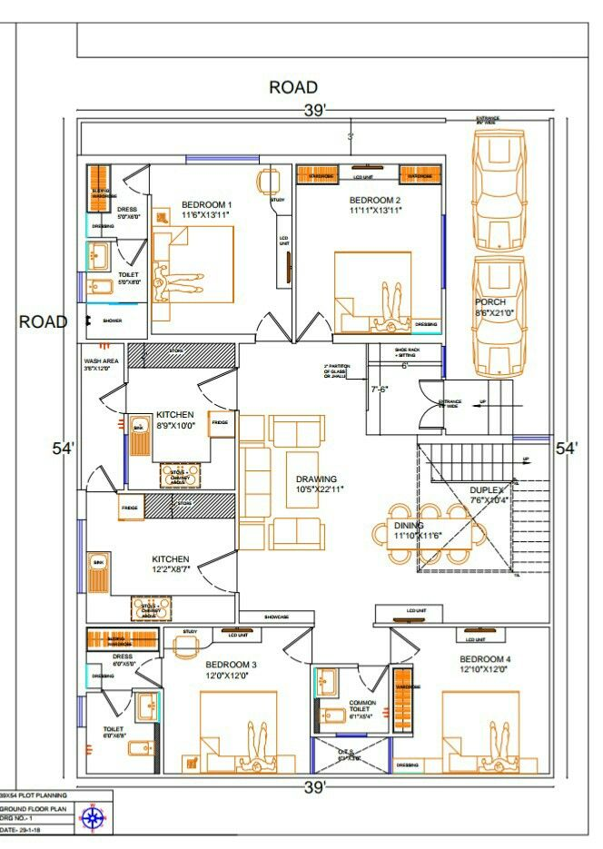 54 39 Sq Ft Plot Planning According To Vastu 31 1 18 With 4 Rooms 2 Kitchen Duplex And 1 Hall House Plans Residential Design Plot Plan