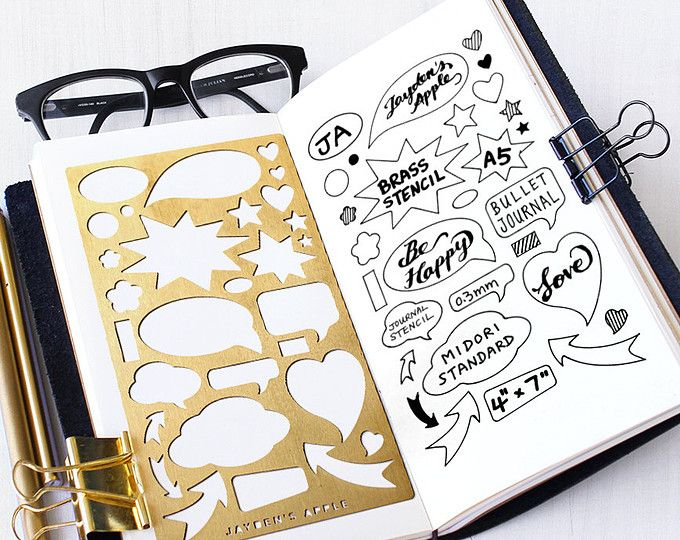 Planner Stencil, Bullet Journal Stencil, Talking Bubbles Metal Stencil - fits A5 journal & Midori Regular (Bubble L)