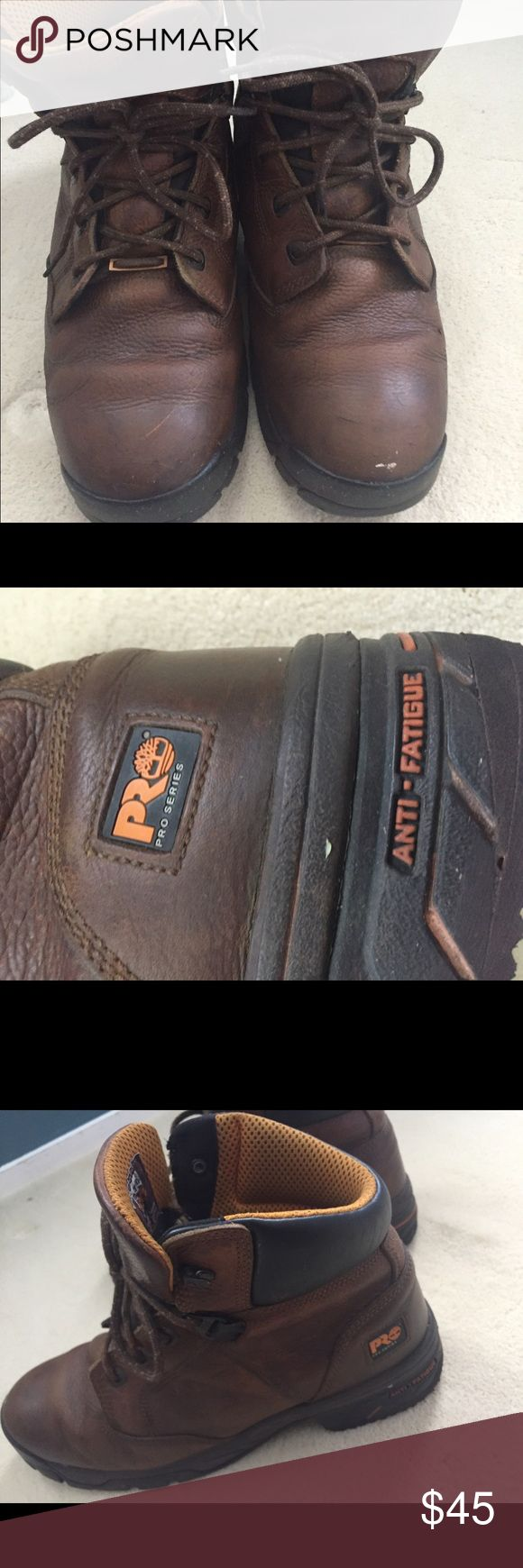 TIMBERLAND PRO SERIES WORK BOOTS BROWN LEATHER Good used condition Timberland Shoes Boots