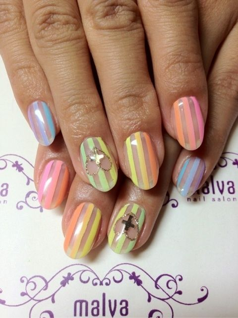 Nails by rumpshaker: ombré lines and negative space. So light and summery!