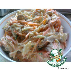 "Салат ""Кореянка"" Ингредиенты для ""Салат ""Кореянка"""": Морковь(по-корейски) — 200 г Огурец(свежий) — 1 шт Мясо(вареное, говядина, свинина, курица - на ваш выбор) — 200 г Яйцо— 4 шт Майонез"