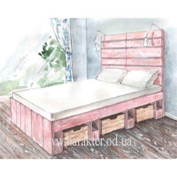 СЗ 1800/2000/в1320 кровать из поддонов с ящиками