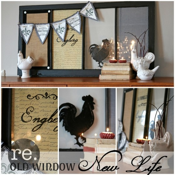 old window repurposed as message board