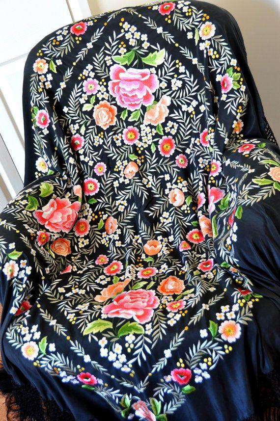 Hand embroidered spanish silk flamenco piano shawl, manton de manilla