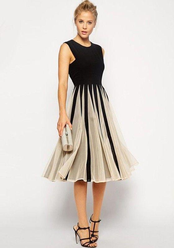 White-Black Patchwork Pleated Grenadine Sleeveless Dress - Midi Dresses - Dresses