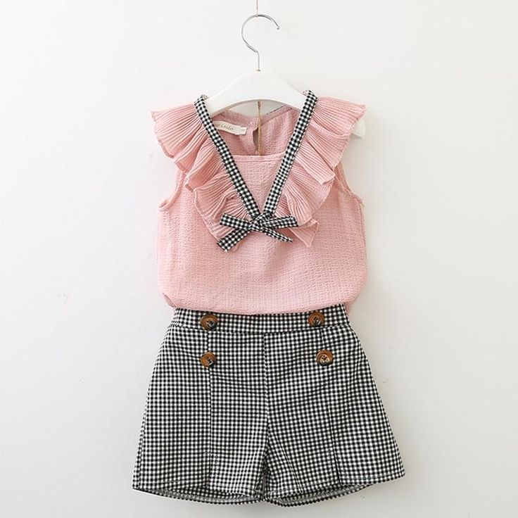 Girls casual Summer Plaid sleeveless tops + Short Sets