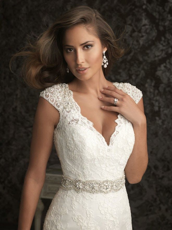 Allure Lace Applique on Cap Sleeve Wedding Dress