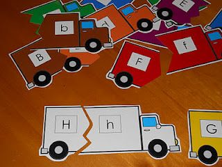 Truck letter match, number block load up, and racing track (early literacy and numeracy work)