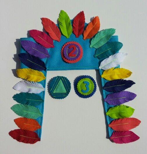 Kleurrijke indianentooi/feestmuts van vilt.